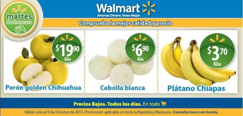 Martes de frescura en Walmart octubre 9: plátano $3.70, pierna con muslo $24.50 y más