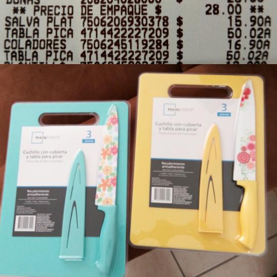 Walmart: Tabla para picar con cuchillo de cerámica con guarda