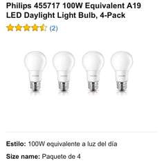 Amazon: 4 Focos Led Philips 14.5 W = 100 W Incandecentes