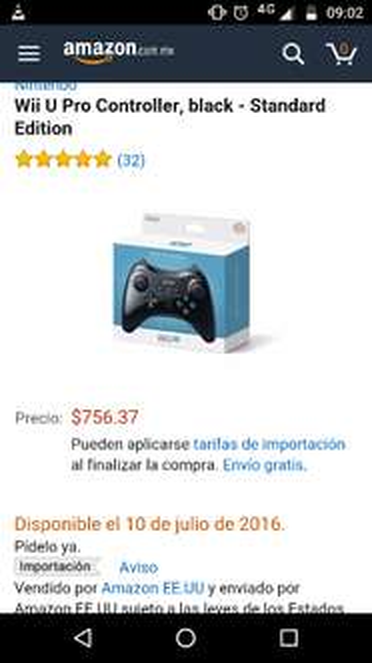 Amazon: control Wii U Pro Controller, negro - Standard Edition
