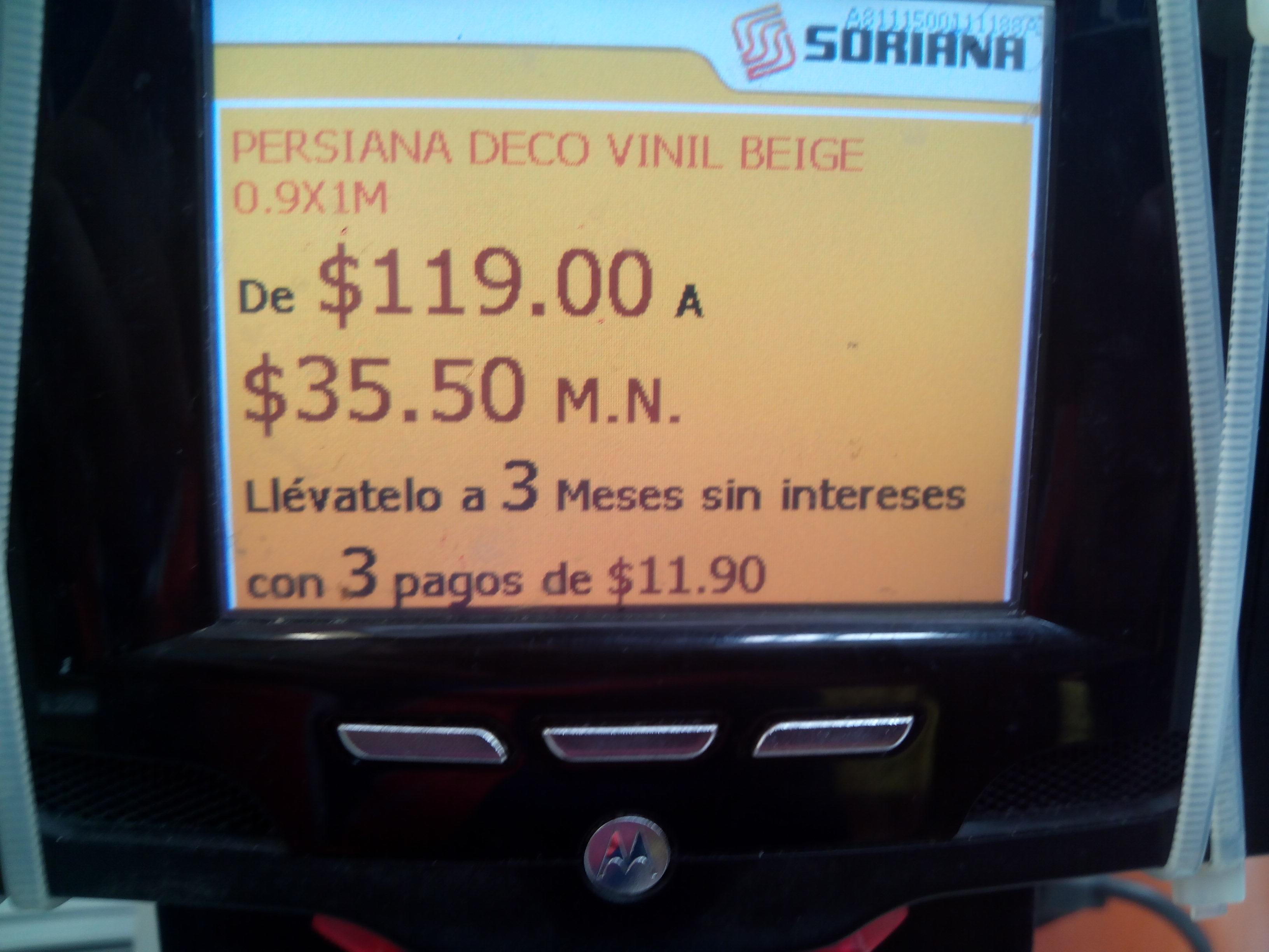 Soriana: Persiana PVC 1 x .9 mts a $35.50