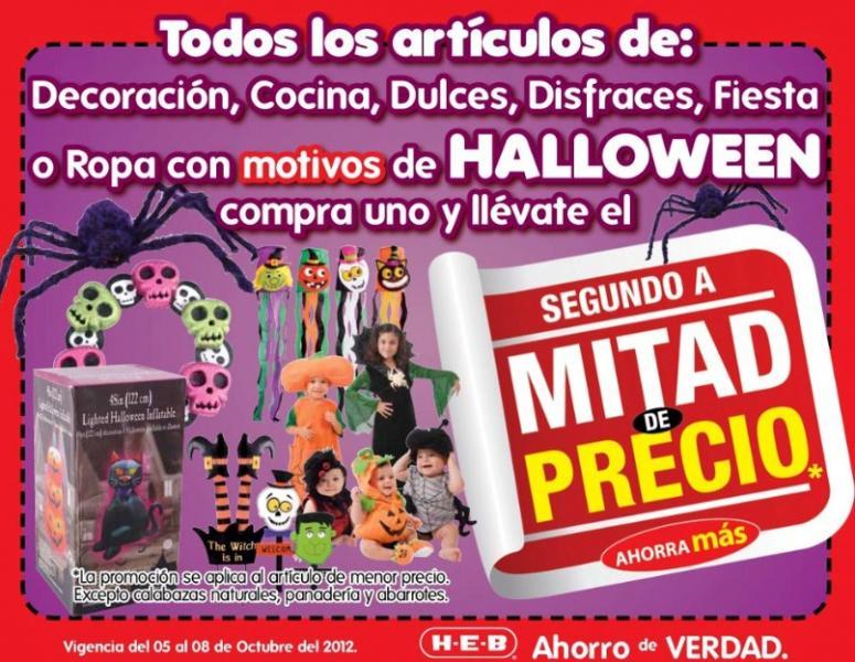 HEB: 2 x 1 y medio en todos los productos de Halloween incluyendo disfraces