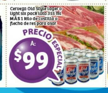 Soriana: Jueves Cervecero 1 Six de Old Style + 1kg de costilla para asar $99 y màs