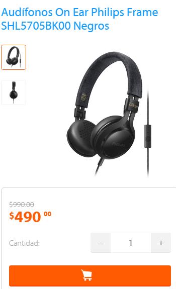 Walmart en línea: Audífonos On Ear Philips Frame SHL5705BK00 Negros a $490