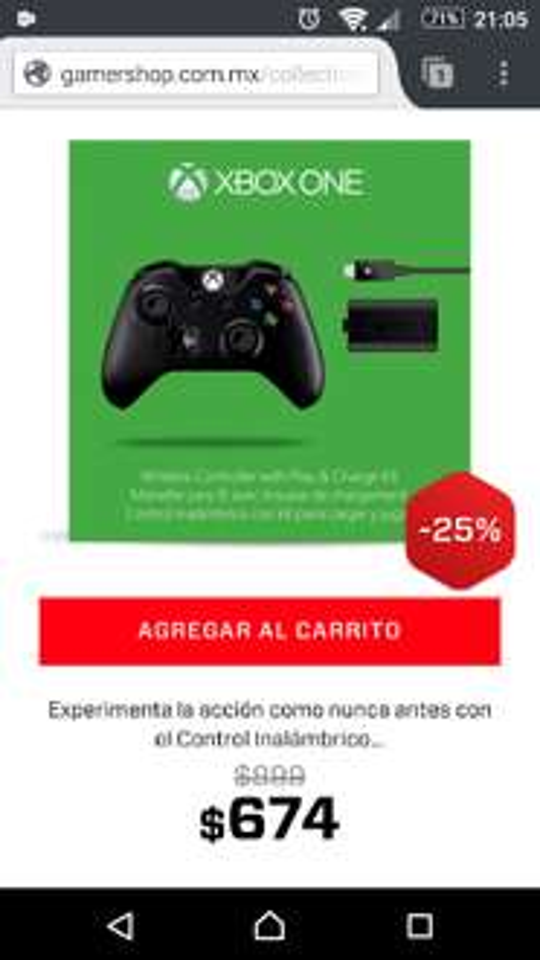Gamers: Control Xbox One con kit carga y juega a $647