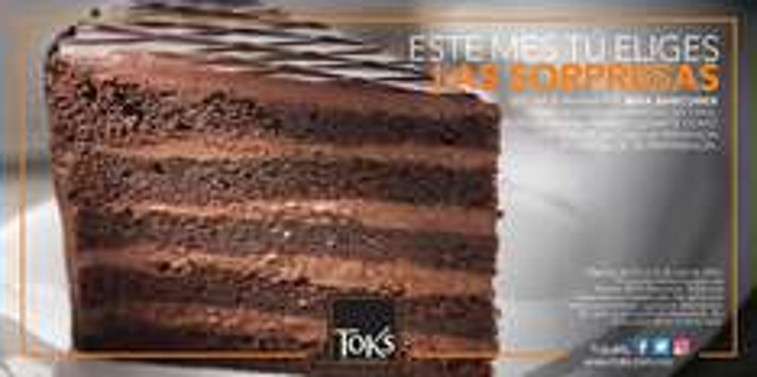 Toks: Rebanada de pastel de cortesía al pagar con tarjetas Bancomer