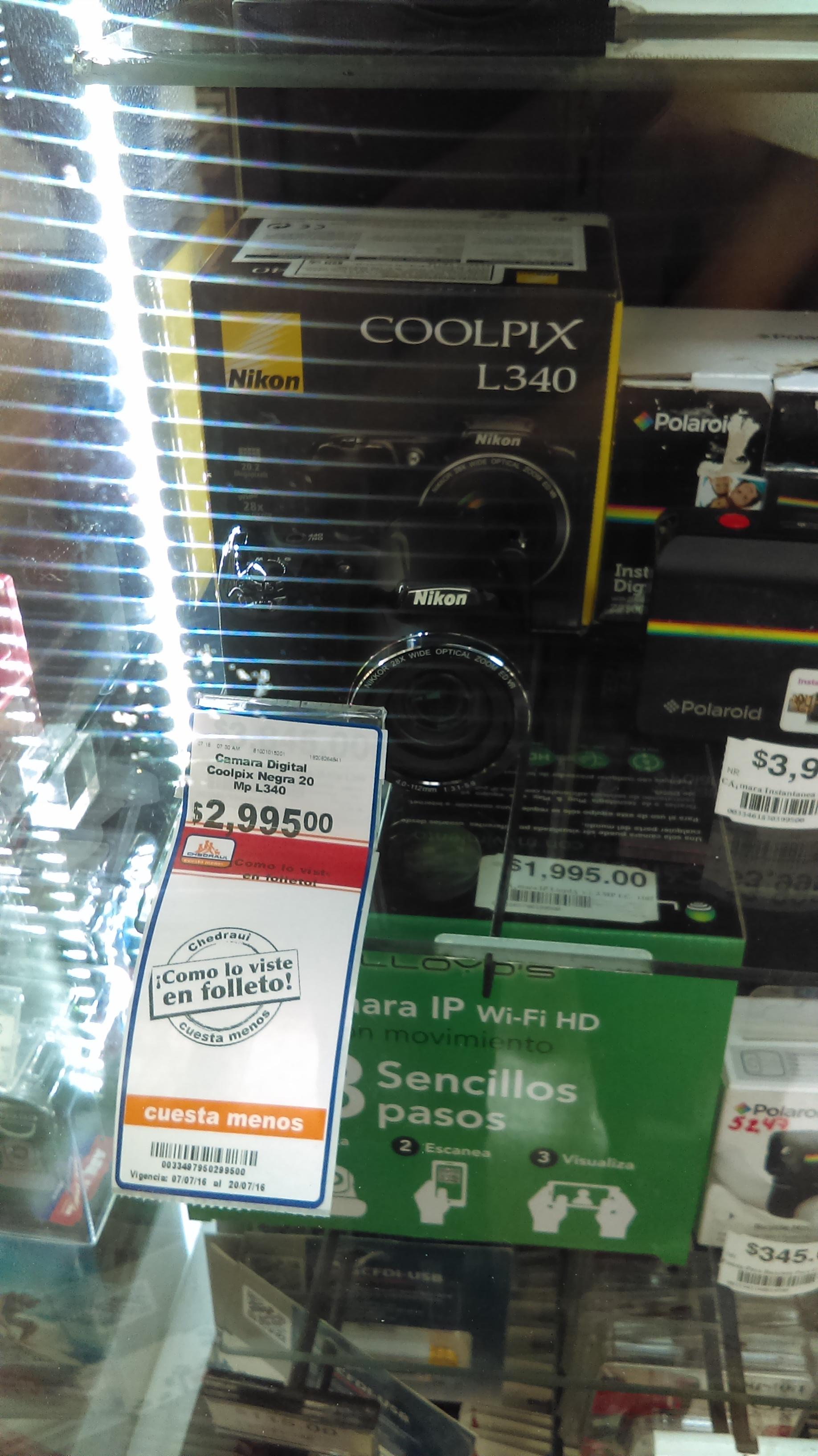 Chedraui: Camara Nikon Coolpix L340 a $2,995