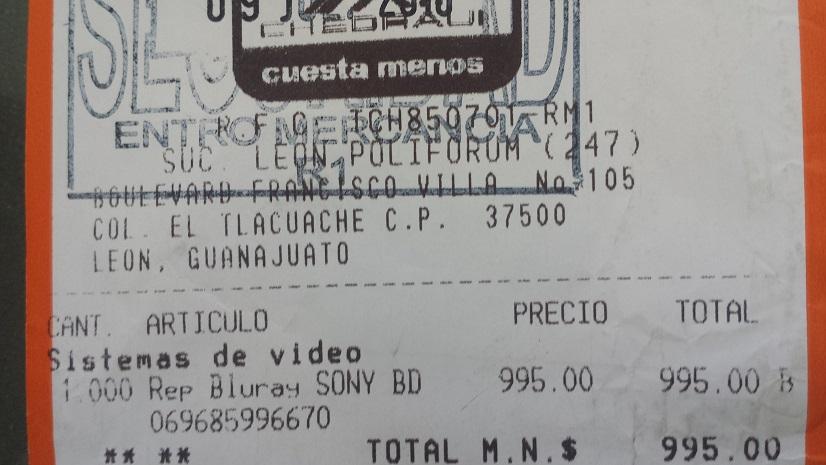 Chedraui Poliforum: reprodcutor Blu-ray Sony a $995