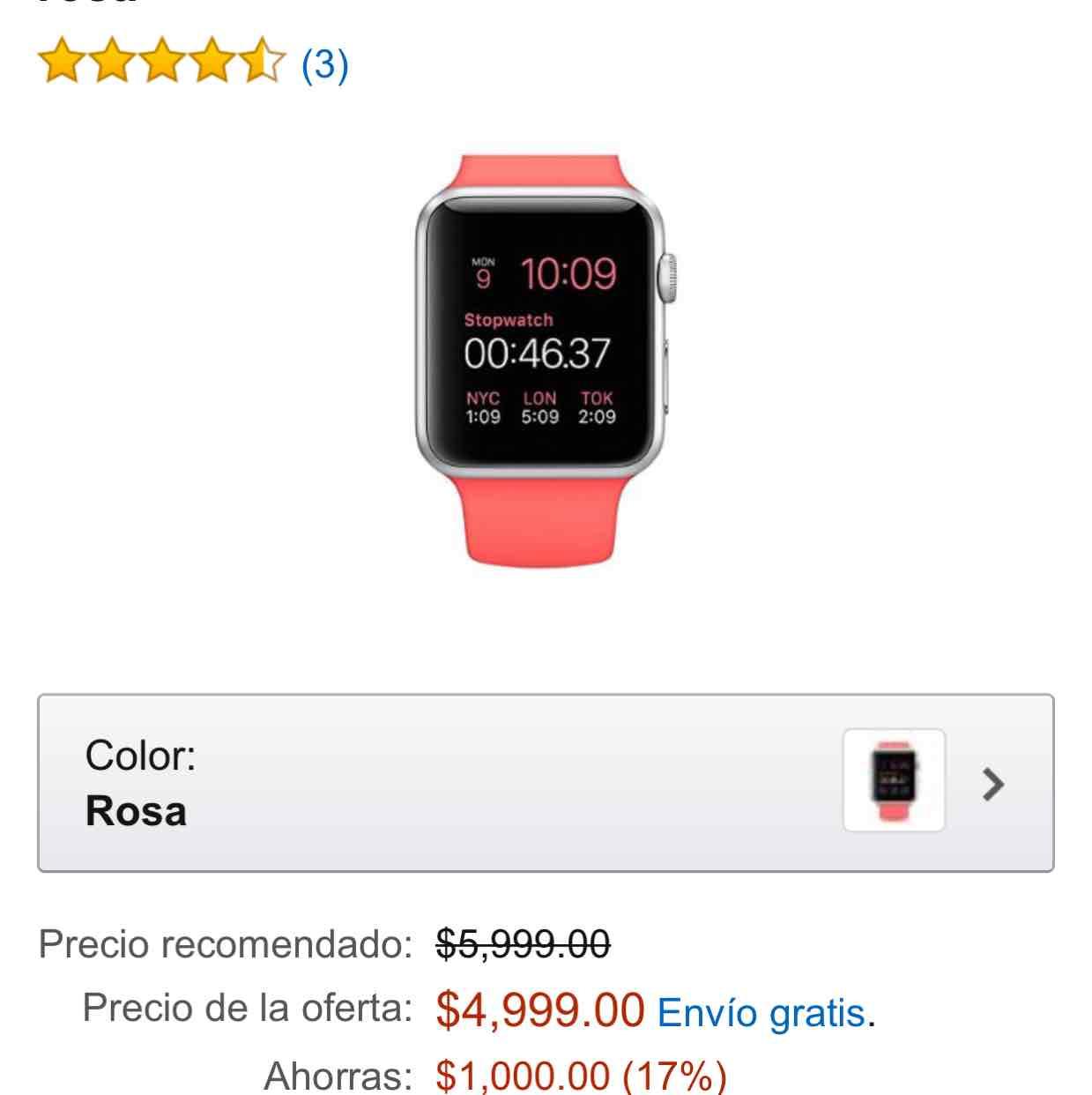 Amazon: Apple Watch 38 mm rosa $4,999 con Banorte $4,500
