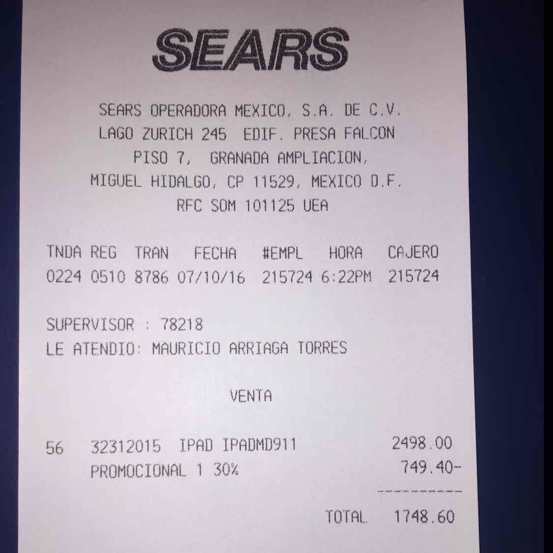 Sears Galerías Querétaro: iPad 4 a $1,749