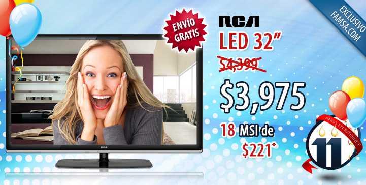 """Famsa: Pantalla LED 32"""" a $3,975 y hasta 18 meses sin intereses"""