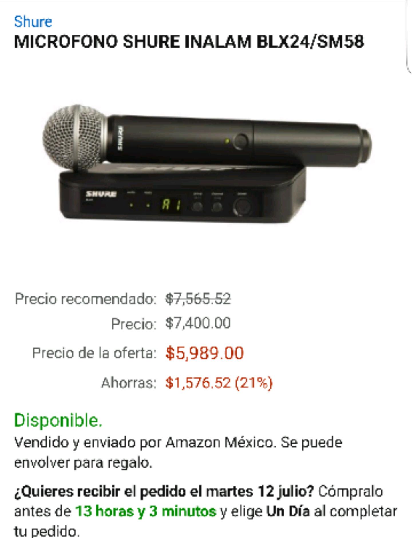 Amazon: micrófono inalámbrico Shure BLX24/SM58