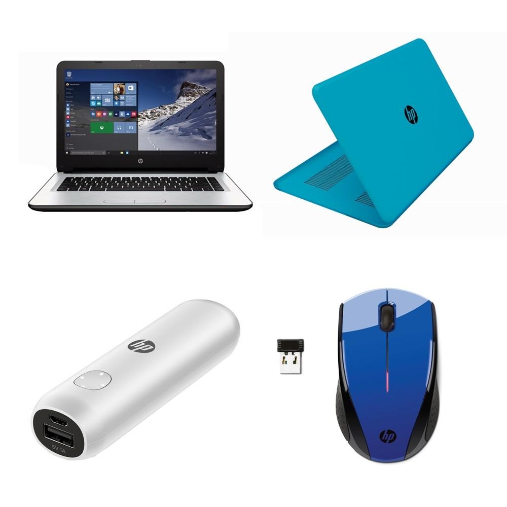 Walmart en línea: paquete de Laptop HP AMD A8 6 GB RAM 1Tb con power bank, mouse y cubierta