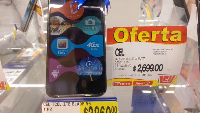 Ley: celular ZTE blade v6 4g 2gb ram $2699