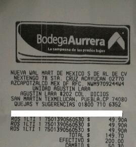 Bodega Aurrerá CAPU y Texmelucan, Puebla: Aceite Roshfrans Ti-22
