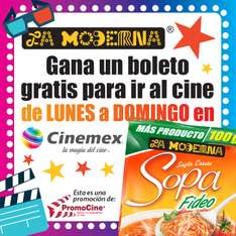 Cinemex: 2 sopas de sobre La Moderna te regalan un 2x1 en Cinemex
