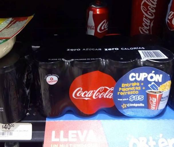 Cinépolis: comprando Coca Cola Zero obtienes un cupón de entrada, palomitas y refresco por $85