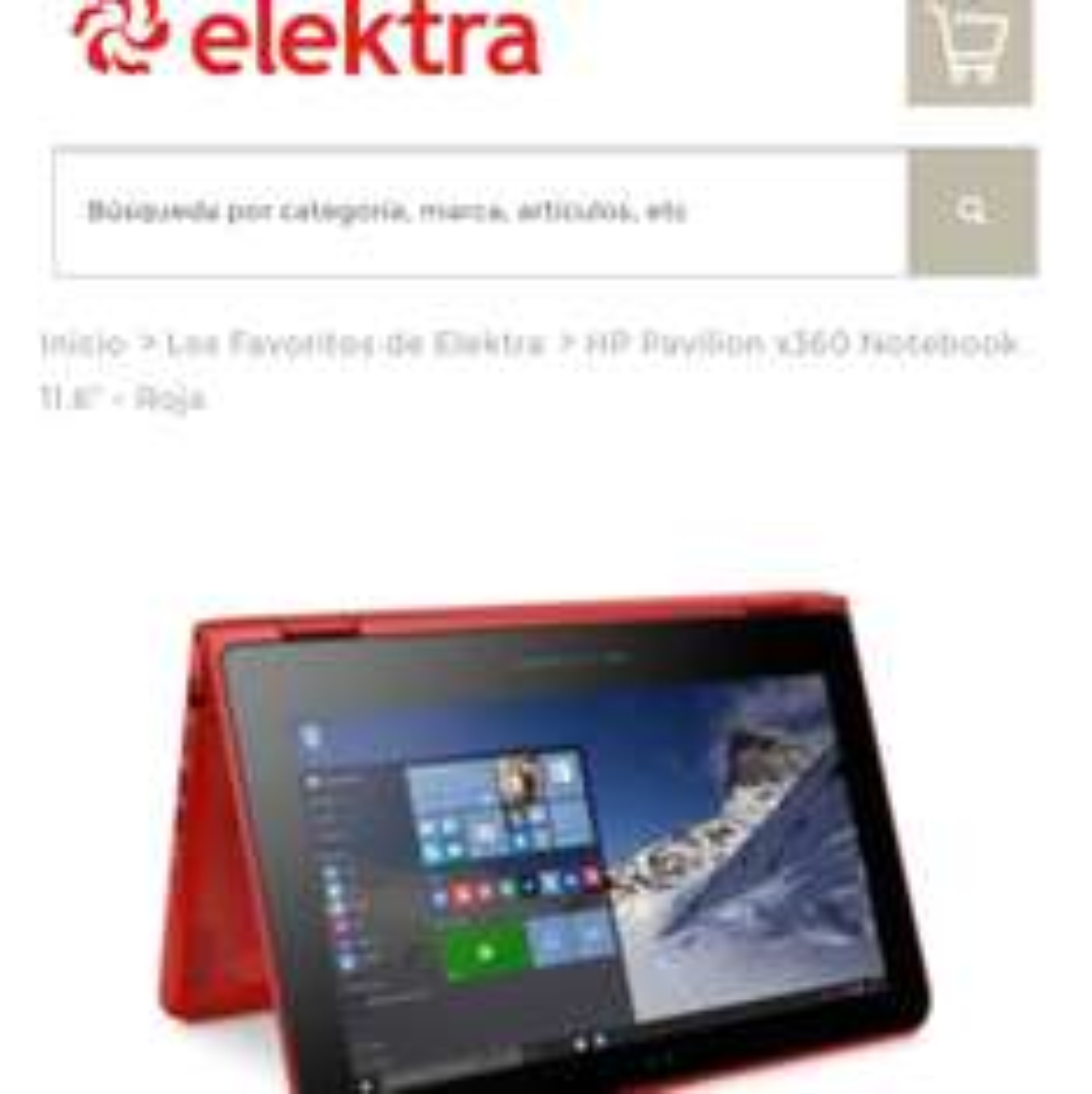 "Elektra en línea: HP Pavilion x360 Notebook 11.6"" - Roja"