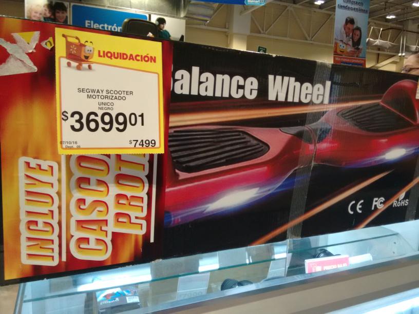 Walmart Cuemanco: Patineta scooter hoverboard a $3699.01. +bocina