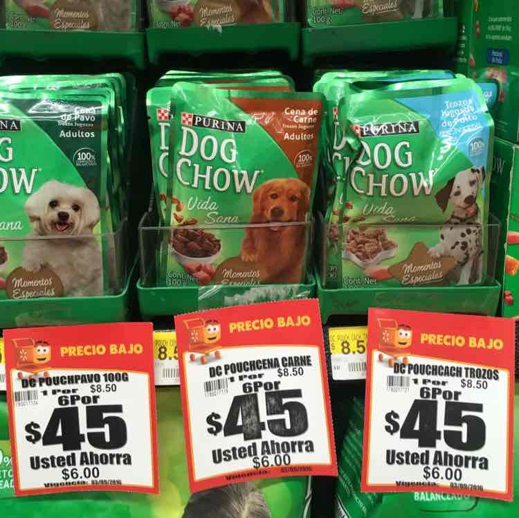 Walmart: 6 sobres para mascota Dog Chow por$45