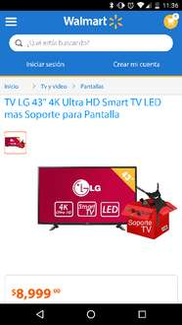 """Walmart en línea: LG 43"""" 43UH6100 4k Ultra HD Smart TV LED mas Soporte para Pantalla"""