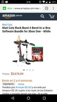 "Amazon: Rock Band 4 ""band in a box"" para Xbox One, color blanco"