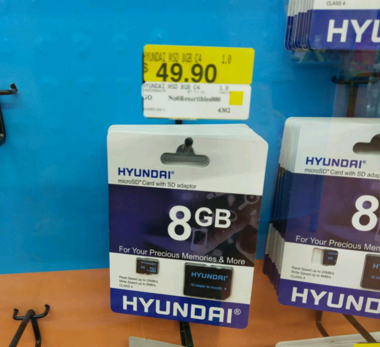 Walmart Alamedas: Memoria Micro SD HYUNDAI de 8GB a $49.90