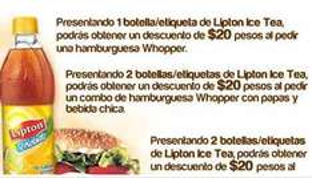 Descuentos en Burger King presentando etiquetas de Lipton Te Helado
