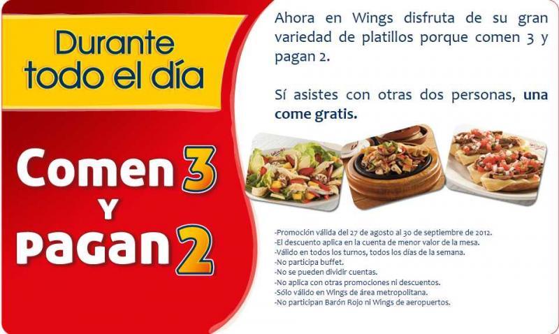 3x2 todo el día en restaurantes Wings