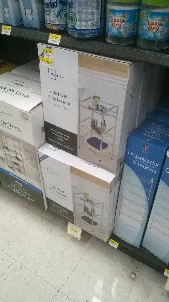 Walmart: Estante para baño Mainstays de 3 niveles a $205.02