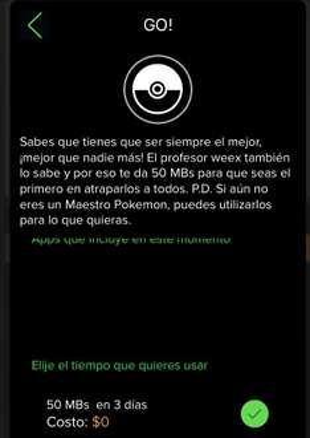 Weex: paquete de megas para Pokemon GO GRATIS por 3 días 50mb