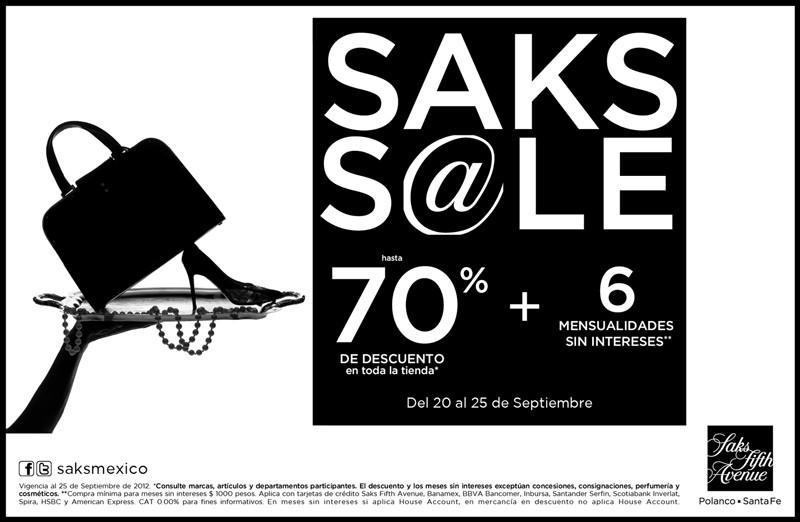 Saks Fifth Avenue: hasta 70% de descuento y 6 meses sin intereses en toda la tienda