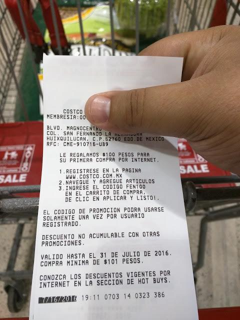 Costco en línea: cupón de $100 pesos de descuento en primera compra en linea aplica a partir de $101