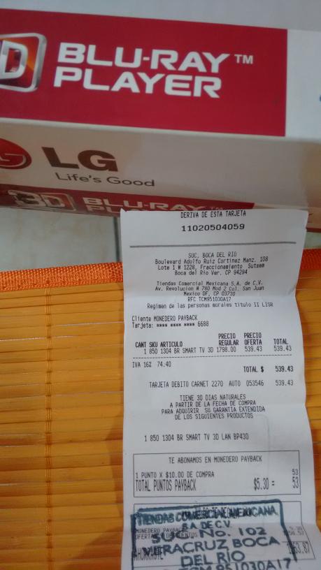 Comercial Mexicana Mega: reproductor Bluray 3D  LG mod. BP430 a $539.43