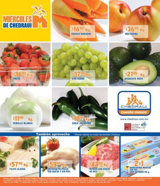 Miércoles frutas y verduras Chedraui septiembre 19: limón $4.90, chayote $3.40 y más