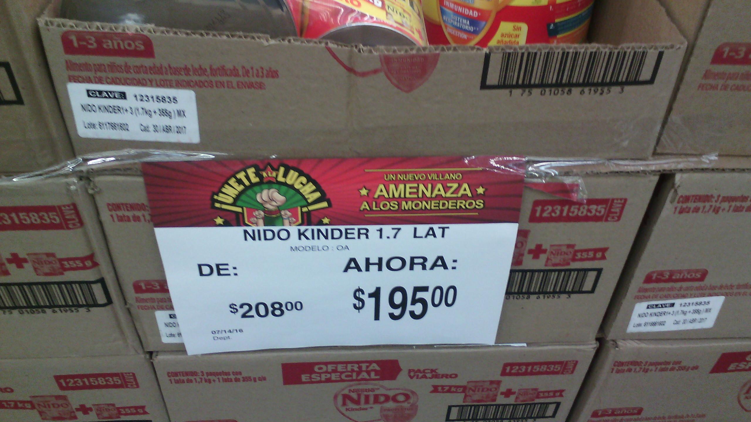 Bodega Aurrerá La Fuente Uruapan: Paquete de leche Nido Kinder de 1.7kg + una lata de 355gr de regalo por $195