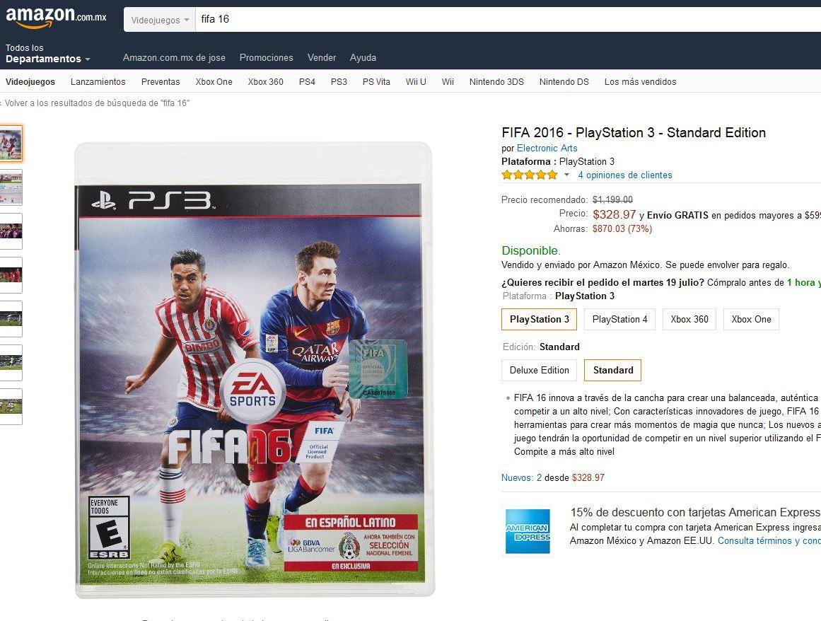 Amazon: Fifa 2016 con descuento en todas las plataformas