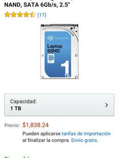 "Amazon: Disco duro híbrido interno para laptop 2.5"" 1 TB"