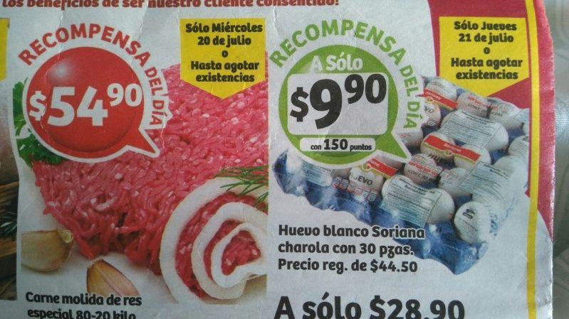 Soriana Híper y Súper: Recompensas 20, 21 Julio: molida de res 80-20 $54.90 kg. huevo blanco 30 pzas $28.90