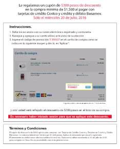 Costco en línea: Cupón de $300 en compra mínima de $1,500 pagando con TDC Costco y Banamex