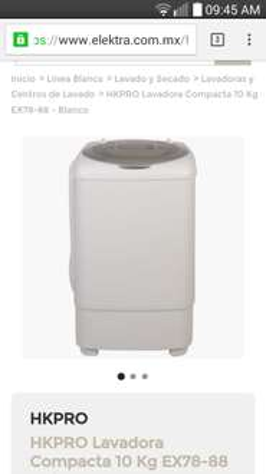 Elektra en línea: Lavadora Compacta  HKPRO 10 Kg EX78-88 - Blanco a $1,999