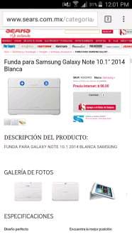 """Sears en línea: funda blanca original Samsung Galaxy note 10.1"""""""