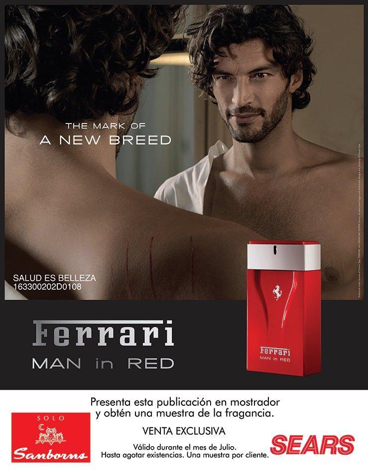 """SEARS y Sanborns: GRATIS  muestra de la fragancia """"Ferrari MAN IN RED"""" al Presentar esta publicación en mostrador"""