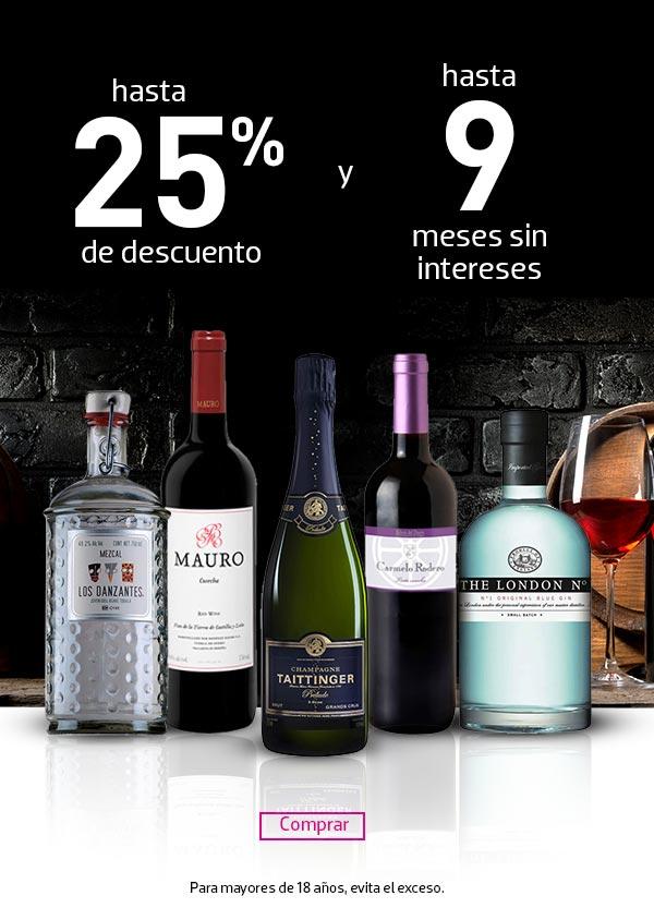 LIVERPOOL: Hasta 25% de descuento en Vinos y Licores