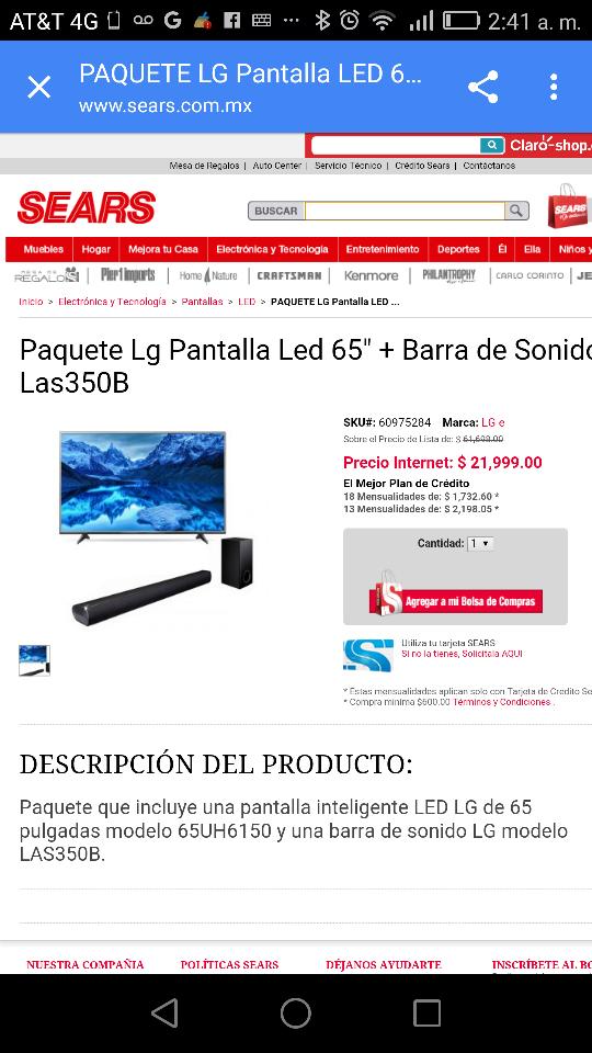 """Sears en línea: Paquete Lg Pantalla Led 65"""" + Barra de Sonido Las350B"""