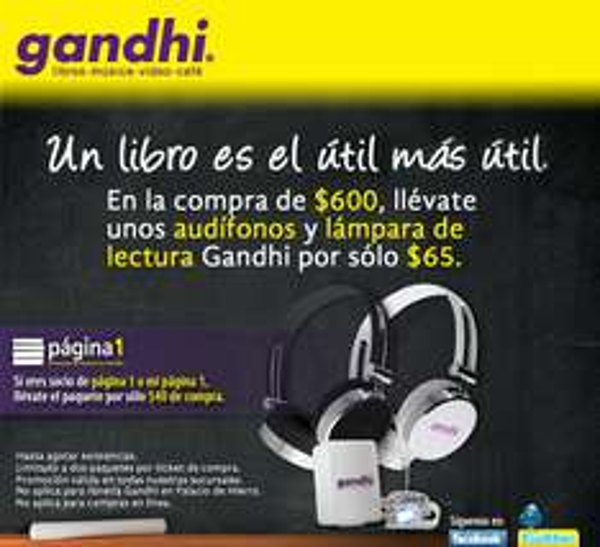 Gandhi: audífonos y lámpara de lectura a $65 en la compra de $600