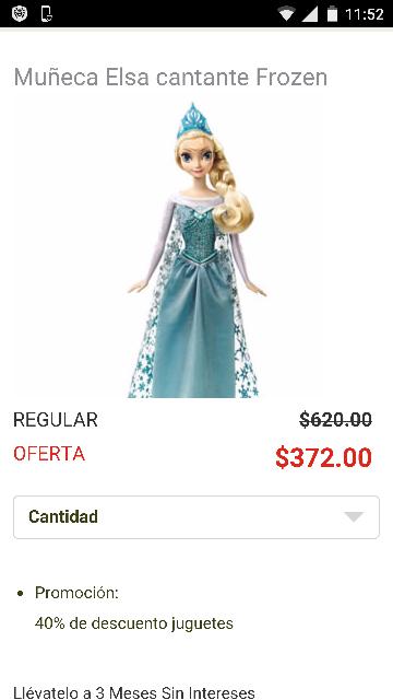 Soriana en línea: Muñeca Elsa Cantante a $372