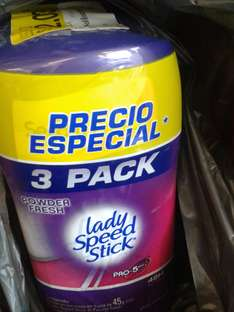 Walmart Córdoba: 3 pack de desodorante Lady Speed Stick a $42.03