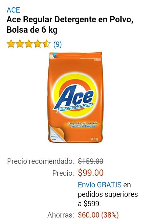 Amazon: Jabón Ace, el mejor precio hasta el momento, 6kg x $99