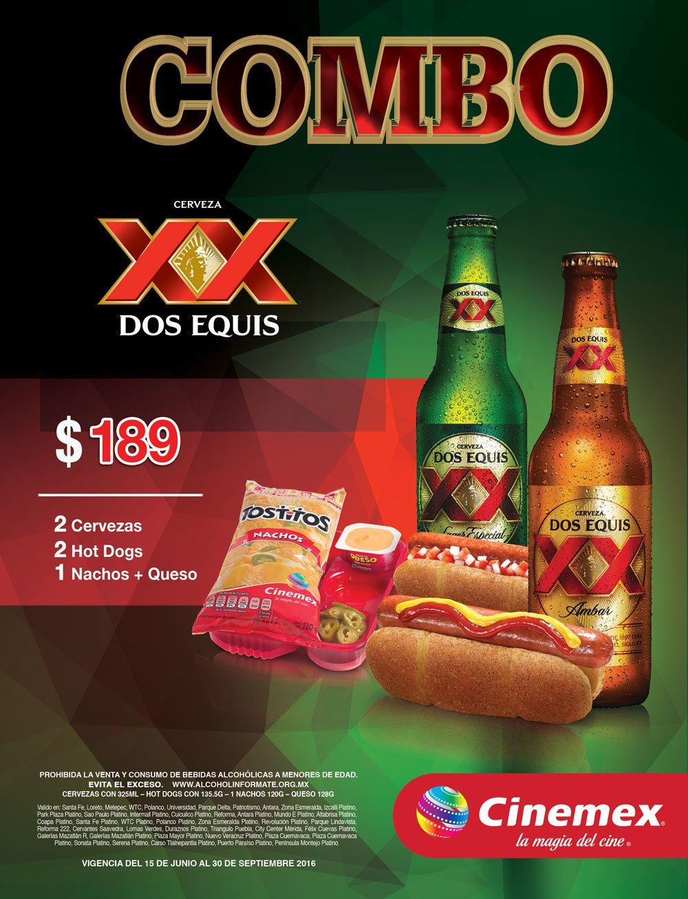 Cinemex: ¡2 Cervezas, 2 Hot Dogs y Nachos ! para acompañar las pelis de estreno